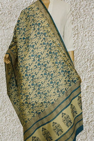 Off White with Blue Hand Block Printed Chanderi Dupatta