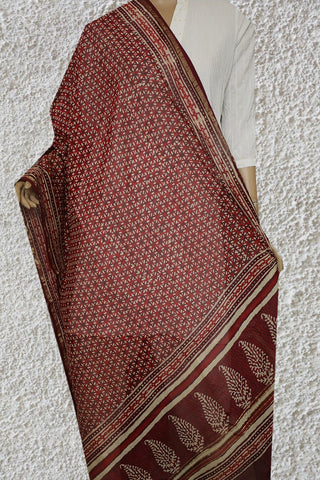 Maroon with Off White Hand Block Printed Chanderi Dupatta