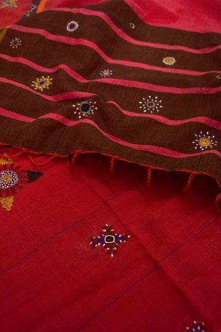 Double Shaded Pink Handwoven Kutch Embroidered Dupatta