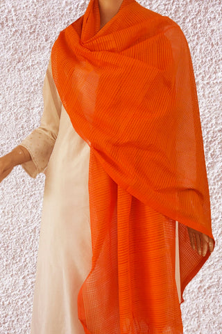 Orange Missing Weaves Handwoven Cotton Dupatta
