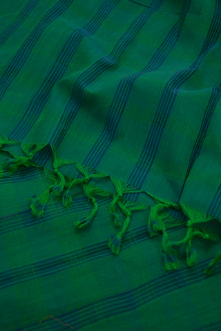 Subdued Green with Blue Missing Weaves Handwoven Cotton Dupatta
