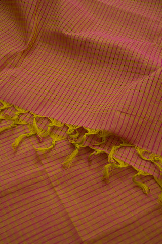 Pink with Light Green Missing Weaves Handwoven Cotton Dupatta