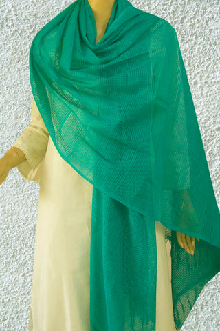Blueish Green Missing Weaves Handwoven Cotton Dupatta