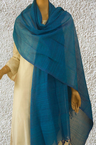 Shades of Blue Missing Weaves Handwoven Cotton Dupatta
