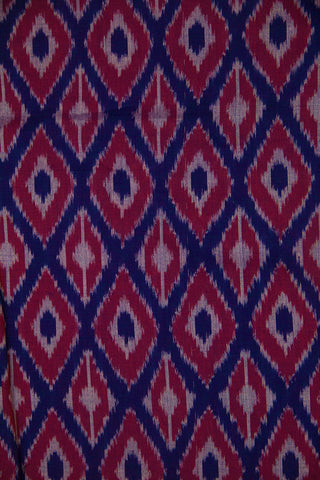Dark Blue with Maroon Diamond Ikat Cotton Fabric