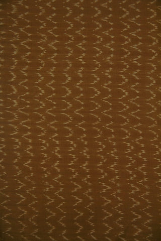 Brown with Beige Waves Natural Dyed Ikat Cotton Fabric - 1.4m