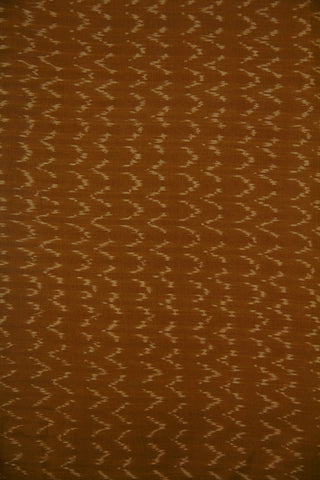 Brown with Beige Waves Natural Dyed Ikat Cotton Fabric