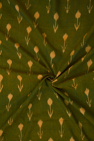 Double Shaded Green with Beige Arrows Ikat Cotton Fabric