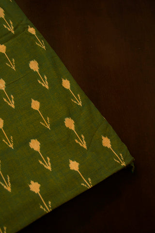 Double Shade Orangish Green Handwoven Ikat Fabric
