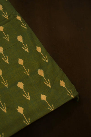 Double Shaded Green with Beige Arrows Ikat Cotton Fabric - 2m