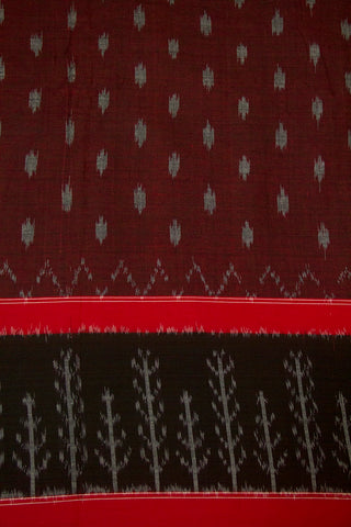 Maroon with Grey Dots Ikat Cotton Fabric