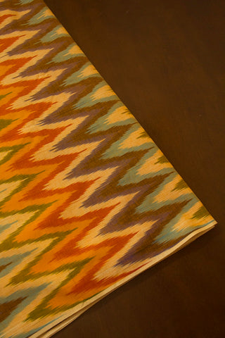 Multi Colour Zig Zag Ikat Cotton Fabric