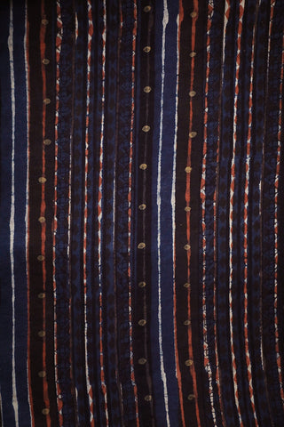Indigo with Lines Bagru Block Printed Cotton Fabric-0.5 m