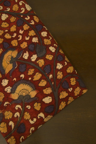 Maroon with Small Leaf Floral Painted Kalamkari Cotton Fabric