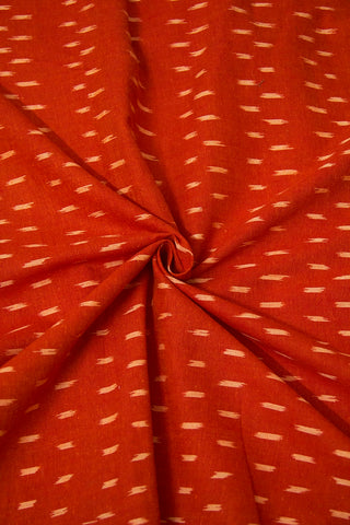 Brownish Peach Ikat Cotton Fabric