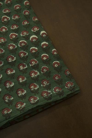 Subdued Green with Maroon Flower Bagru Block Printed Cotton Fabric