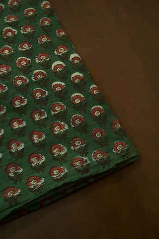 Subdued Green with Maroon Flower Dabu Print Cotton Fabric