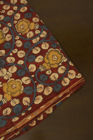 Fenugreek Flower with Indigo Painted Kalamkari Cotton Fabric
