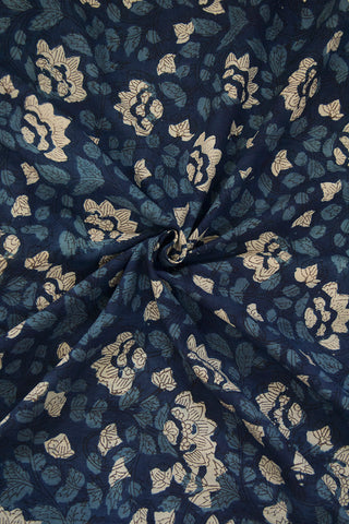 Indigo with Off White Floral  Hand Block Dabu Print Cotton Fabric