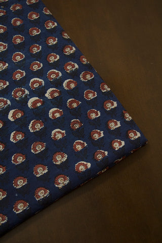 Blue with Maroon Flower Dabu Print Cotton Fabric