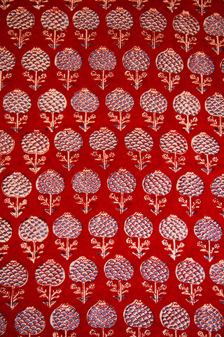 Red Block Printed Sanganeri Cotton Fabric - 0.5m