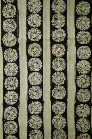 Off White Florals and  Black Lines Bagru Block Printed Cotton Fabric