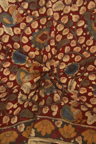 Beige with Red Floral Painted Kalamkari Cotton Fabric
