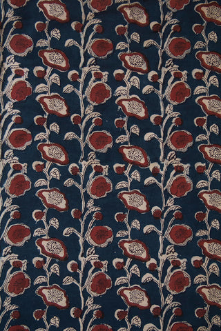 Blue with Brown Hand Block Printed Cotton Fabric