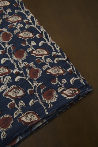 Blue with Brown Hand Block Printed Cotton Fabric - 1.8m