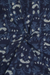 Indigo Blue Hand Block Dabu Print Cotton Fabric-0.8 m