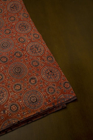 Grey with Rust Red Circles Malai cotton Fabric-0.8 m