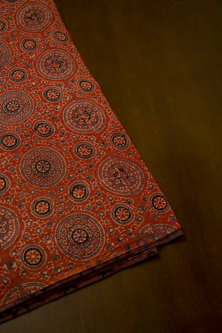 Grey with Rust Red Circles Malai cotton Fabric