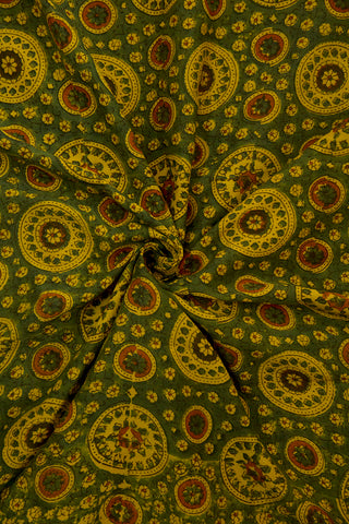 Green with Yellow Circles Malai Cotton Fabric-0.6 m