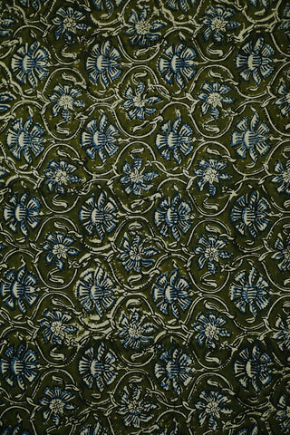 Olive Green with Floral Bagru Block Printed Cotton Fabric