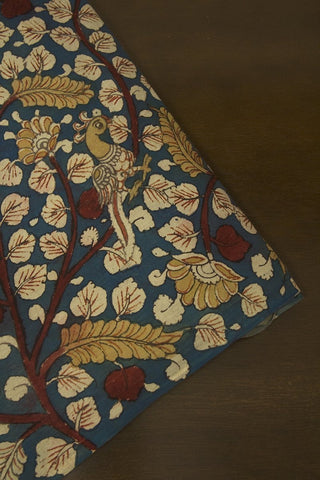 Indigo Blue with Maroon Painted Kalamkari Cotton Fabric