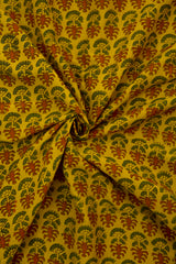 Yellow with Maroon Malai Cotton Fabric