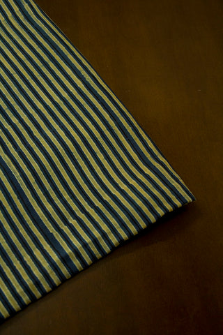 Yellowish Green Lines Malai Cotton Fabric