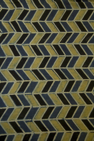 Yellowish Green with Black Zig Zag Malai Cotton Fabric-0.7 m