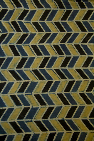 Yellowish Green with Black Zig Zag Malai Cotton Fabric