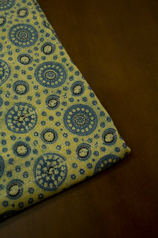 Indigo Circles Malai Cotton Fabric