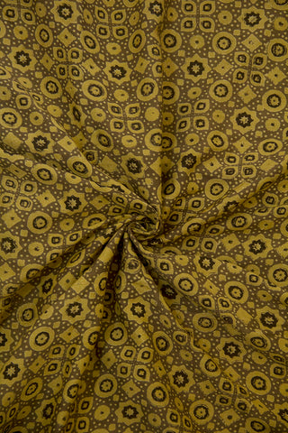 Greyish Brown Circles and Stars Malai Cotton Fabric