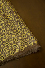 Olive Green Circles and Stars Ajrak Modal Silk Fabric