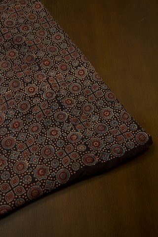Black with Indigo Circles and Stars Malai Cotton Fabric - 1.5m