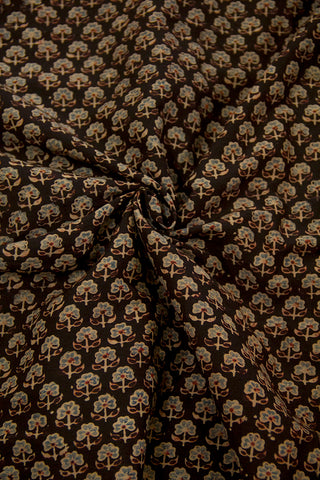 Black with Maroon Small Flower Malai Cotton Fabric