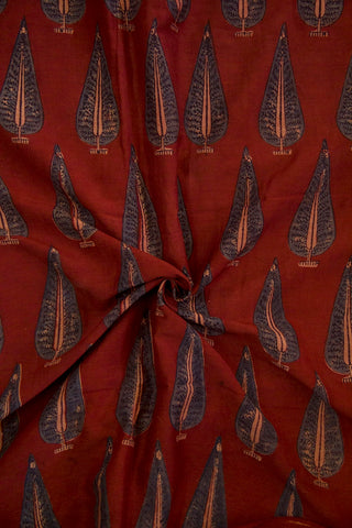 Subdued Maroon with Indigo Leaf Malai Cotton Fabric