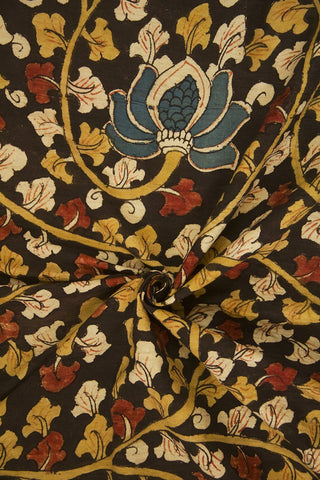 Black with Indigo Lotus Painted Kalamkari Cotton Fabric