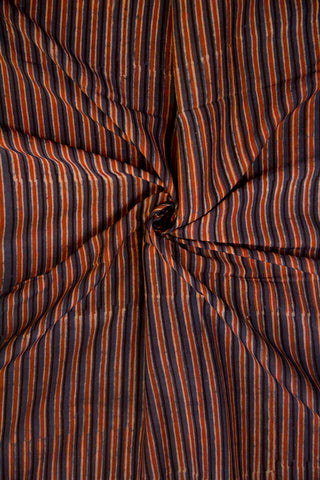 Indigo with Brown Lines Malai Cotton Fabric