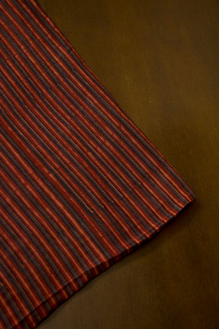 Dark Maroon Lines Malai Cotton Fabric