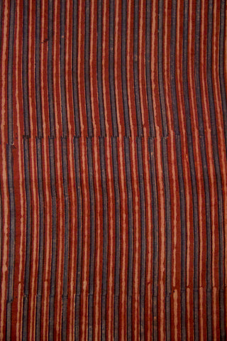 Faded Maroon and Indigo Lines Malai Cotton Fabric