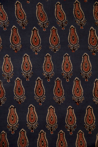 Faded Blue with Maroon Malai Cotton Fabric